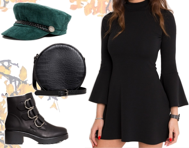 Want to wear herfst outfit inspiratie met bell sleeve dress bikerboots en ronde tas imitatieleer