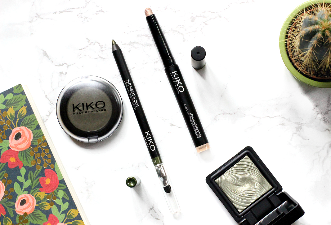 kiko eyeshadow khaki 11, kiko water eyeshadow in 209 olive green, kiko intense colour long lasting eyeliner in 10