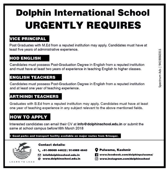 Dolphin International School has job vacancies