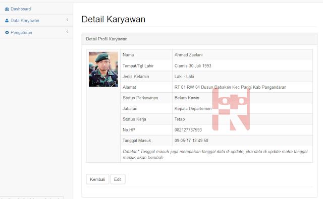 melihat detail profile karyawan