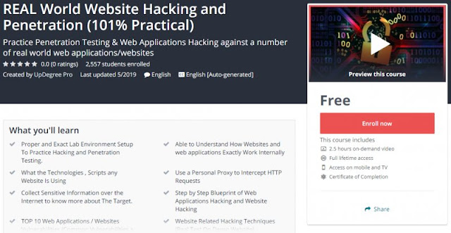 [100% Free] REAL World Website Hacking and Penetration (101% Practical)