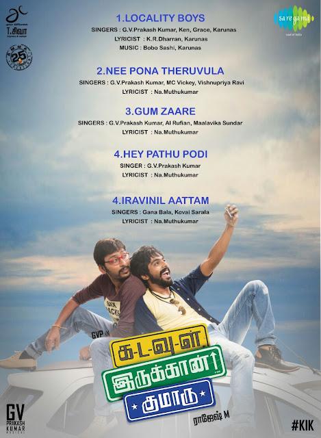 G. V. Prakash Kumar's Kadavul Irukan Kumaru Tamil Movie Official Audio Track List
