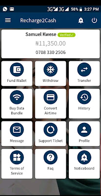Recharge2Cash app home screen UI