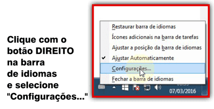 Menu de contexto da barra de idiomas no Windows 7.