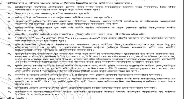 Bangladesh Police Constable Recruitment Exam Important Documents