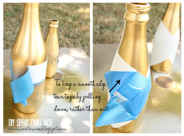 DIY gold metallic spray paint bottle into vase