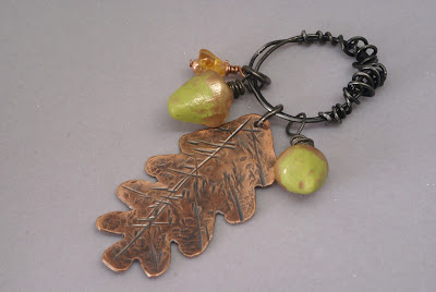 Copper Oak Leaf and Acorn Pendant on Wreath by BayMoonDesign