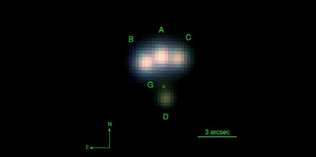 Pan-STARRS image of the quadruple gravitational lens candidate. The four images of the quasar are marked A-D. The lensing galaxy is very faint and it was discovered only after careful analysis of the image, its position is marked with an x.