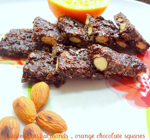 healthy oats, almonds and chocolate orange squares for kids treats, gifts for Christmas