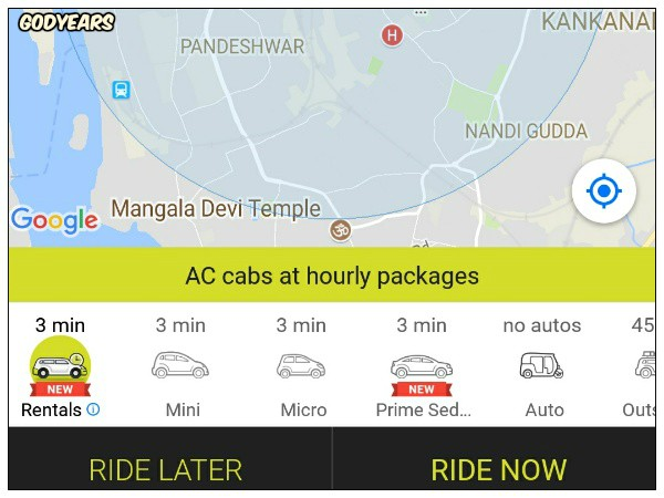 Ola Rentals was a huge benefit for me and available at an amount lesser than when I had travelled a few years ago using an alternate cab service where there was only a fixed 4 hour or 8 hour package.
