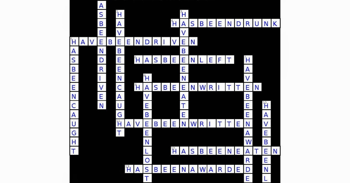 Random Book And Movie Reviews Present Perfect Active Passive Crossword Puzzle