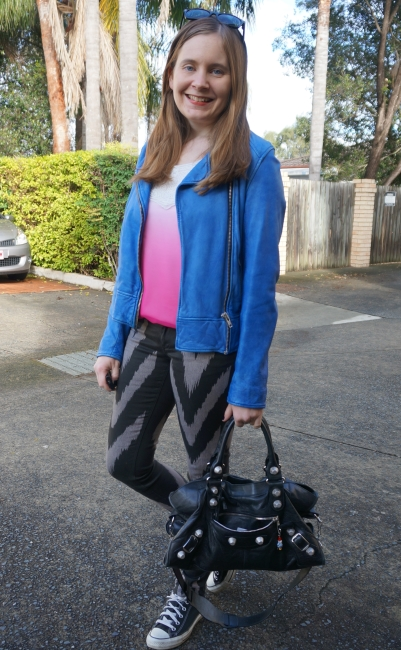 pink ombre tank, cobalt blue leather jacket, printed Sass & Bide skinny jeans, converse | AwayFromBlue