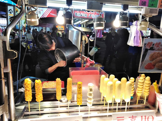 various corndogs sanhe night market taipei taiwan