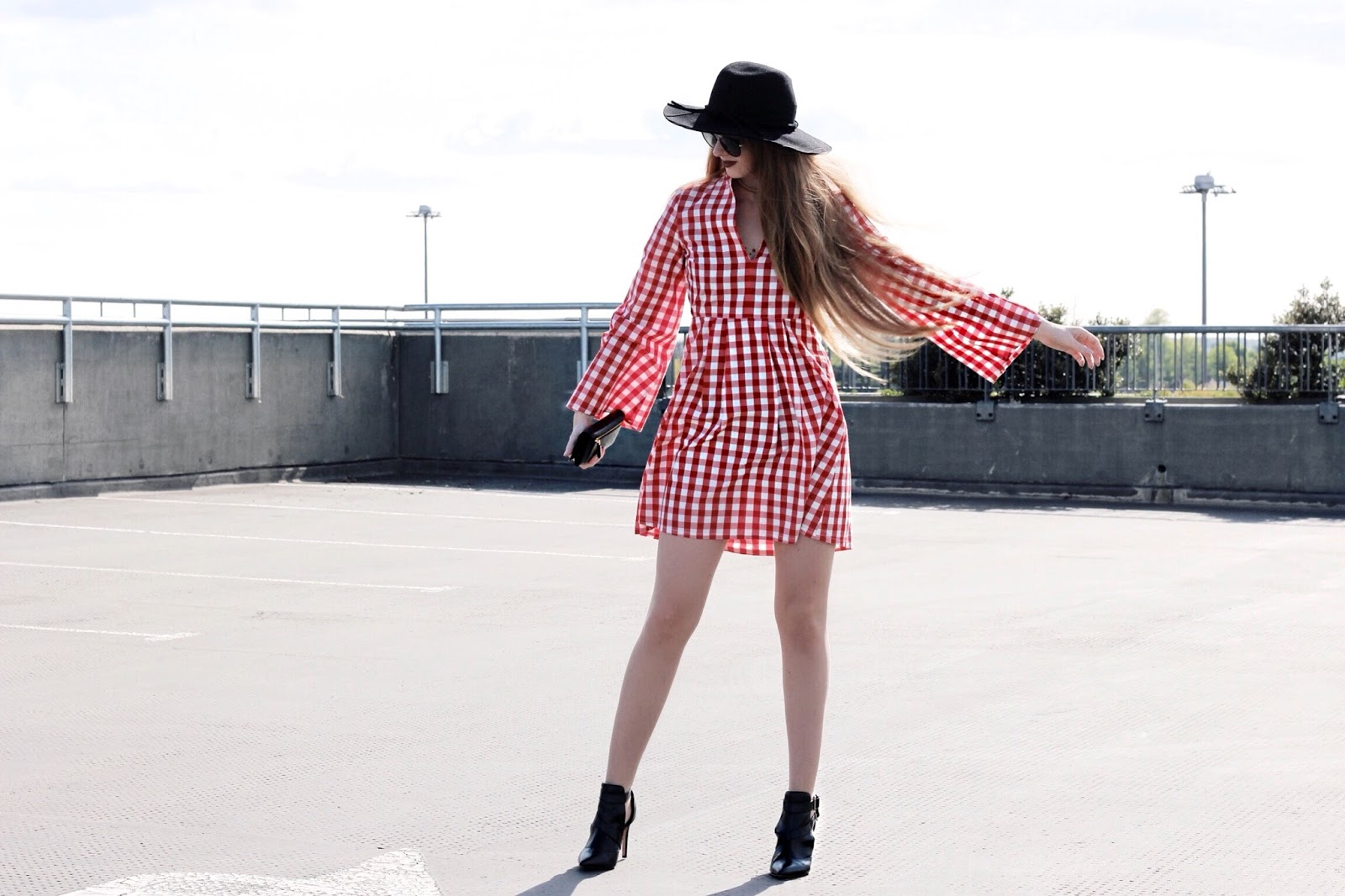 Short red gingham dress spring summer