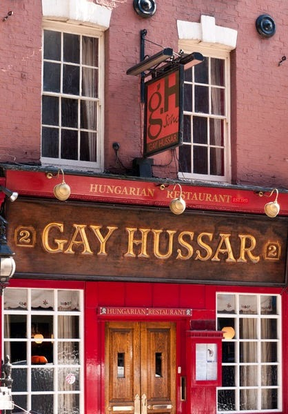 Gay Hussar, Hungarian restaurant. Greek Street London.