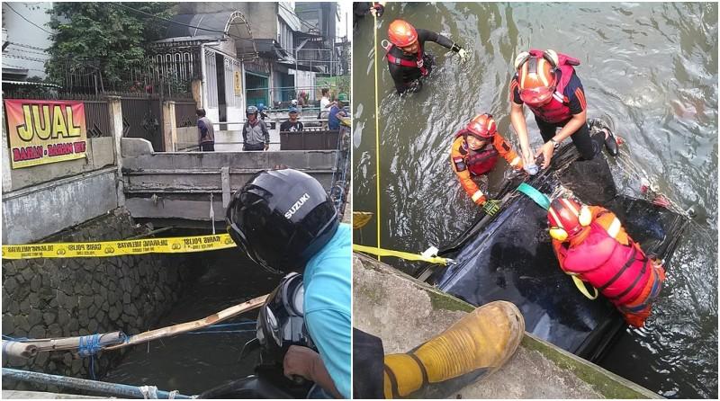 Evakuasi Bangkai Mobil di Bawah Jembatan Pasirkoja