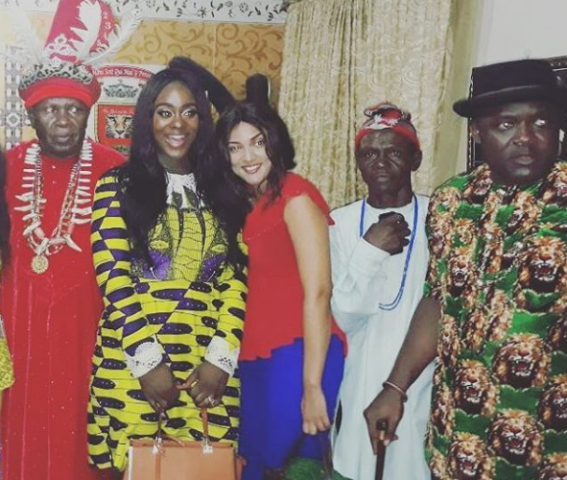Photos: Ex-BBN housemate, Uriel Oputa's homecoming in Imo state, visits the Igwe of Oguta
