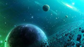 Achtergrond met planeten