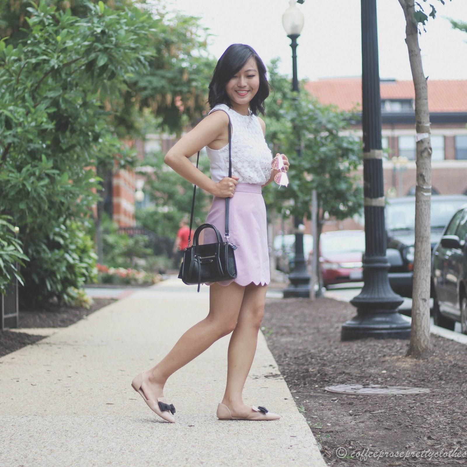 Crochet tank, scalloped skirt, nude mules