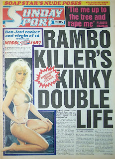 Front cover page of the Sunday Sport newspaper from 23rd August 1987