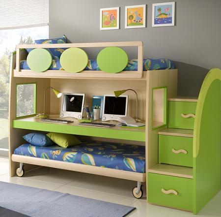 Dormitorios con escritorio for Habitaciones para ninas con literas