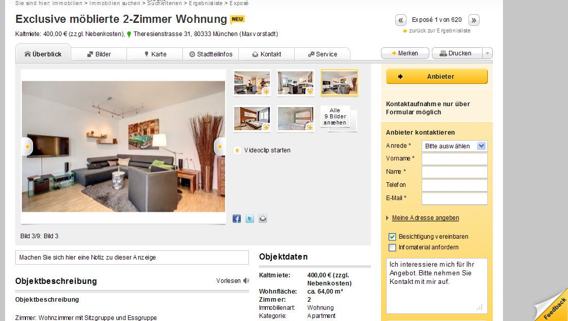 exclusive m blierte 2 zimmer wohnung theresienstrasse 31 80333. Black Bedroom Furniture Sets. Home Design Ideas