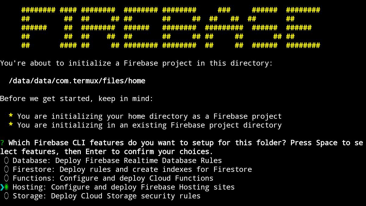 Firebaseの初期化で「FIREBASE」と表示されたコンピューター