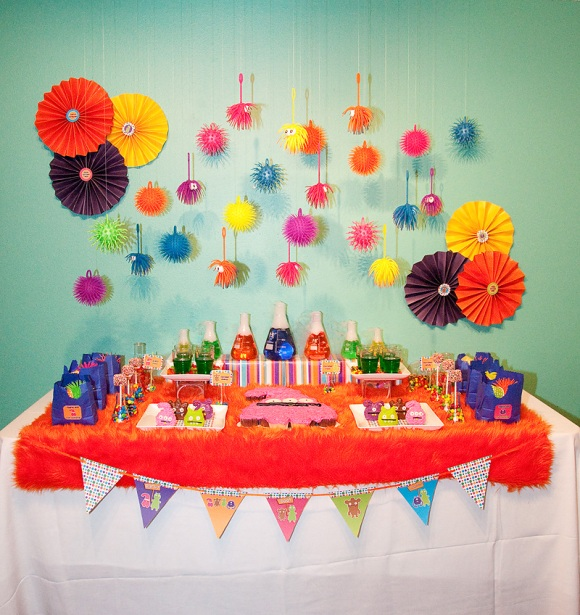 A Colorful Little Monster Birthday Party - via BirdsParty.com