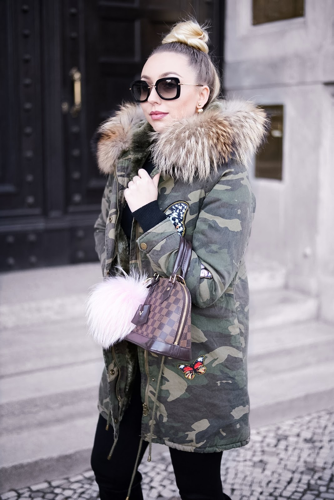 fur parka_camo parka_military parka_miu miu sunglasses_fur bag charm