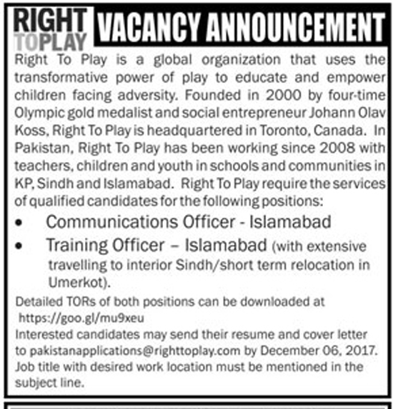 Jobs In Right to play NGO Islamabad  Nov 2017