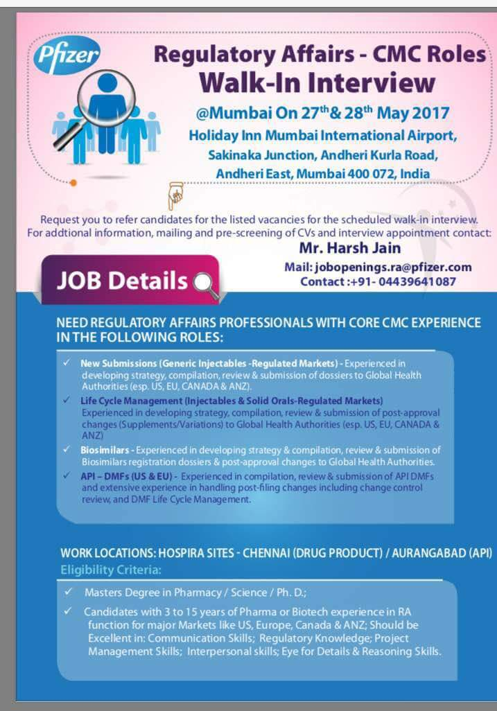 Pfizer Recruitment Walk In Interview for Fresher on 3rd