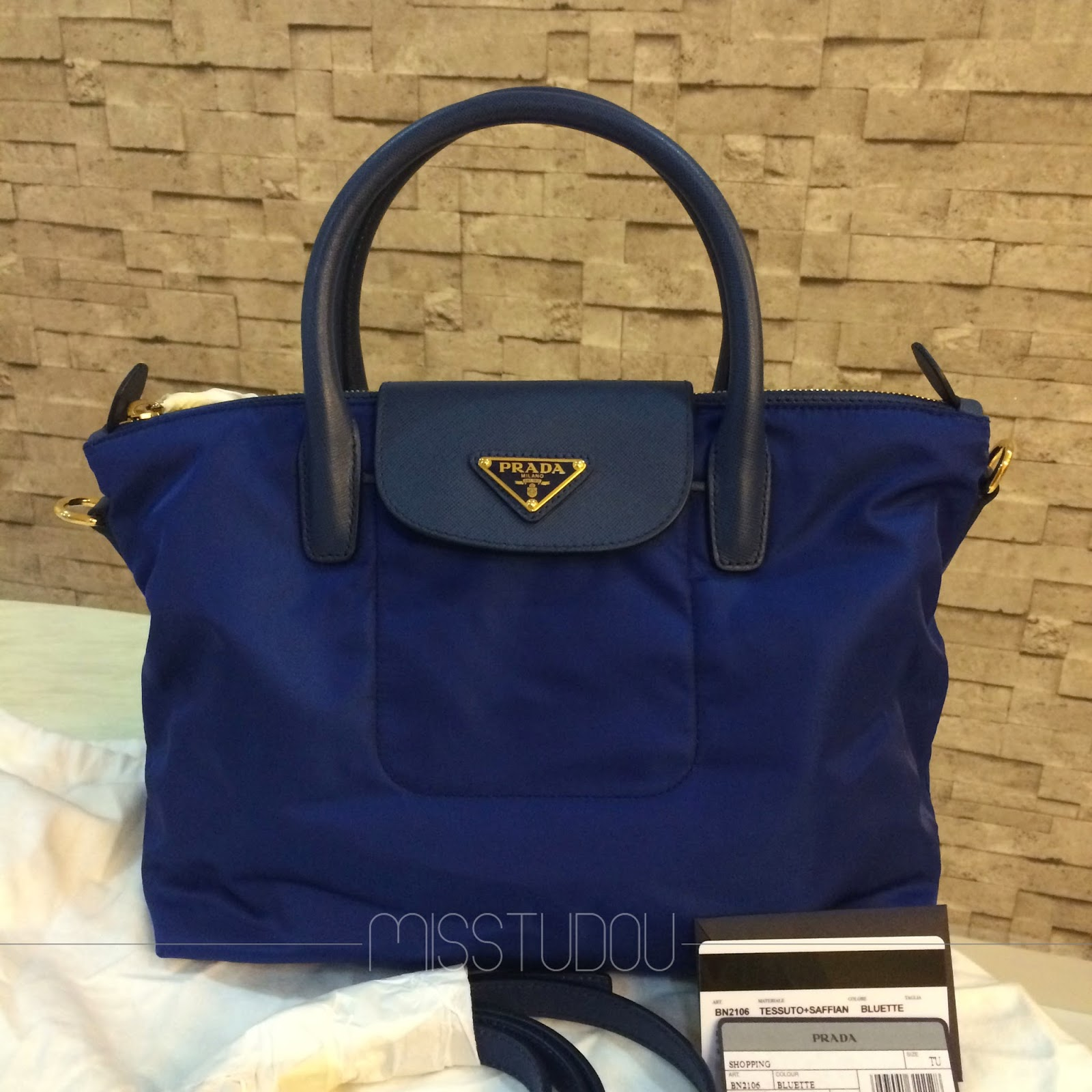 44369a6428e0e6 PRADA TESSUTO SAFFIANO SHOPPING TOTE (BN2106). 100% AUTHENTIC