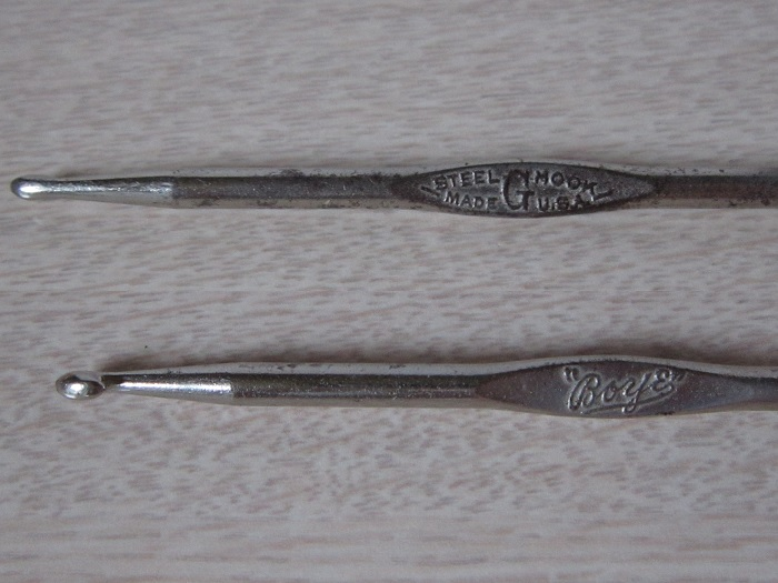 vintage, antique, crochet hook, Boye, steel rug hook