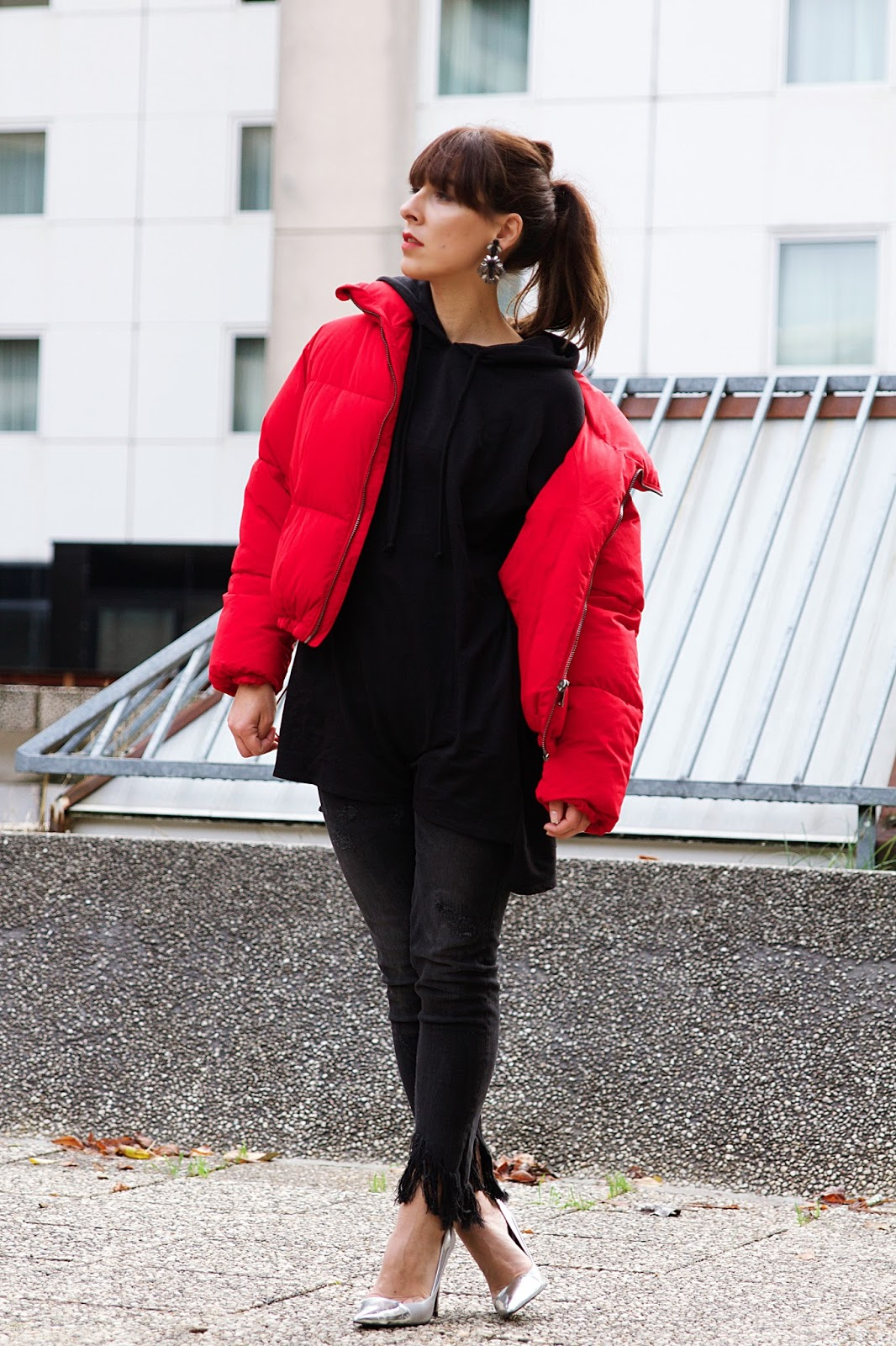 doudoune rouge Bershka , manteau hiver