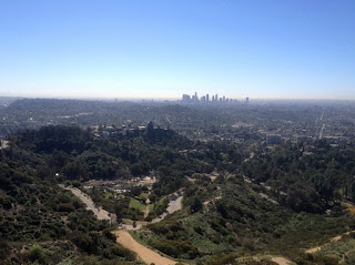 View south from Glendale Peak (1184') in Griffith Park toward downtown Los Angeles, February 15, 2016