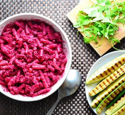 BEETROOT MACARONI CHEESE WITH GRILLED ZUCCHINI