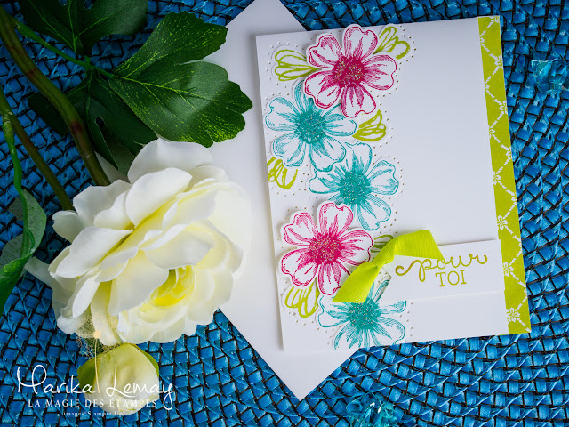 carte avec le jeu d'étampes Flower shot Stampin' up!