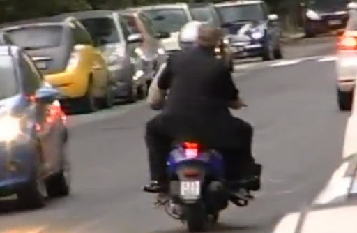 Napoli president Aurelio De Laurentis gets angry and leaves on a scooter