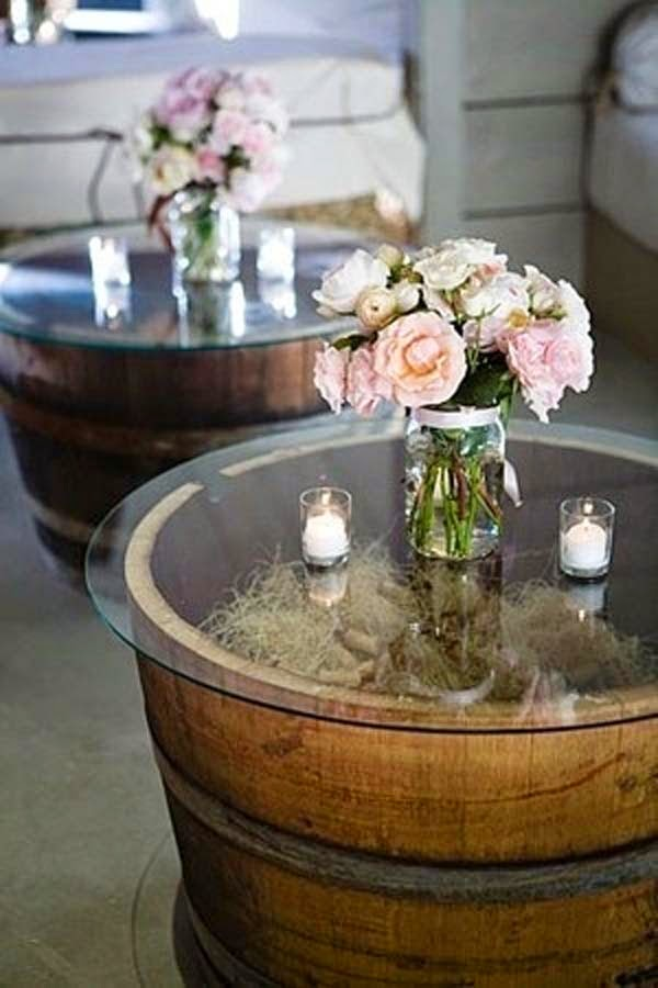 16.) Build simple, rustic coffee tables out of whiskey barrels. - These 29 Do-It-Yourself Backyard Ideas For Summer Are Totally Awesome. Definitely Doing #10!