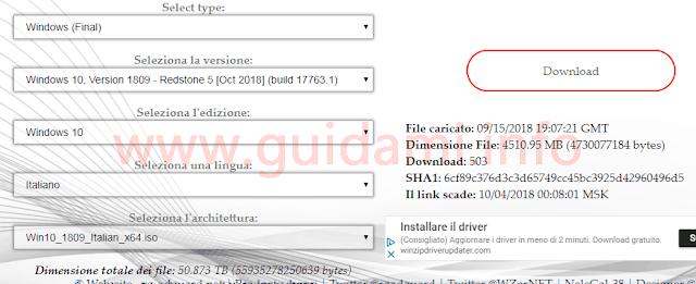 Sito TechBench per scaricare ISO Windows 10