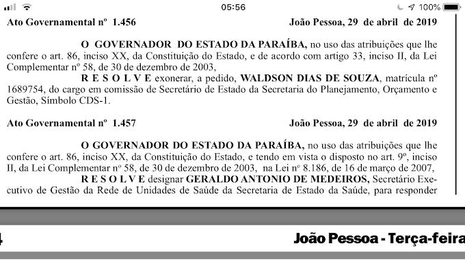 Governador da PB exonera procurador e secretários