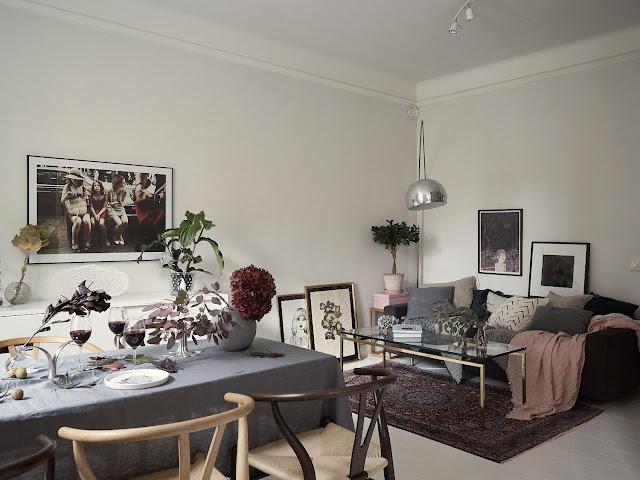 Accente de gri și roz în amenajarea unui apartament de 100 m² din Suedia