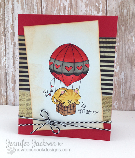 Le Meow Kitty Card by Jennifer Jackson | Newton Dreams of Paris Stamp set by Newton's Nook Designs #newtonsnook