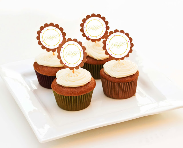 free thanksgiving party  cupcake toppers