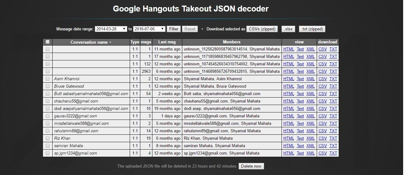 Social Community: Google Hangouts Takeout JSON decoder IN