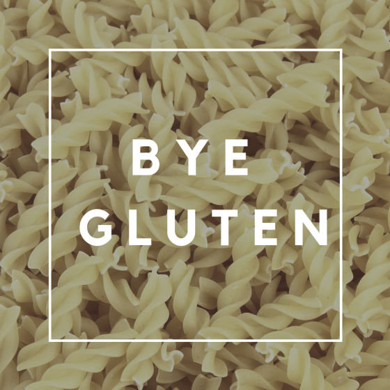 Image that says bye gluten