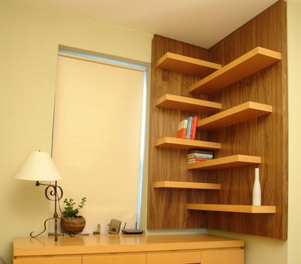 green corner wall shelf idea | Home Priority: The Practical Corner Wall Shelf that ...