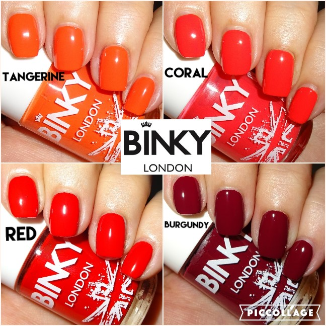 Wendy\'s Delights: BINKY London Nail Polishes - Tangerine, Coral, Red ...