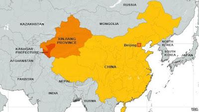 peta wilayah Xinjiang