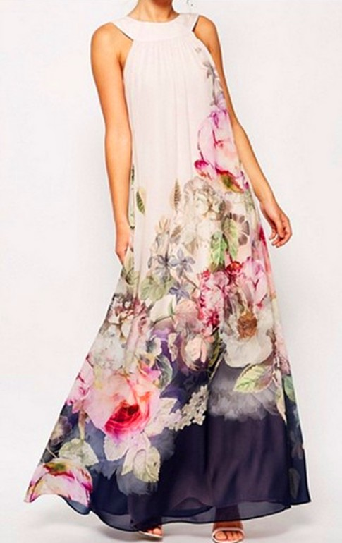 Crew Neck Backless Bohemian Maxi Dresses (Price:$ 19.95)
